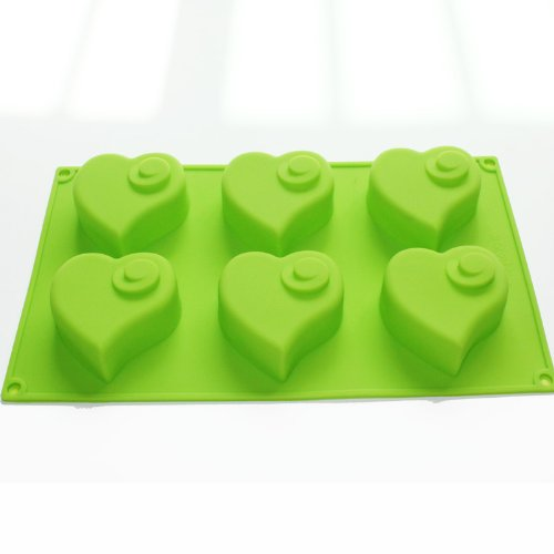 Flying Heart Valentine Muffin Cupcake Chocolate Soap Pudding Tray Silicone Mold