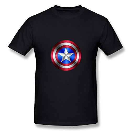 PCY Men's Create My Own Captain America Shield Vintage Tee Black