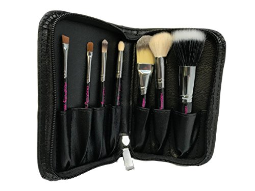7PC Hello Kitty Kabuki Travel Brushes Kit Concealer Foundation Contour Eye Shadow Lip Angle Eyebrow Makeup Set Organizer