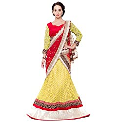 Suchi Fashion Yellow Net Embroidered Circular Lehenga Choli
