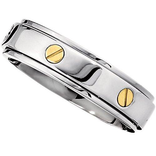 7.0mm Titanium 14kt Yellow Screws Spinner Band Size 9.5