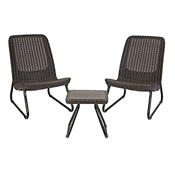 Keter Rio 3 Pc All Weather Outdoor Patio Garden Conversation Chair & Table Set Furniture, Brown
