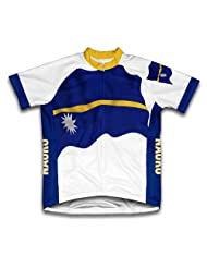 Nauru Flag Short Sleeve Cycling Jersey for Women