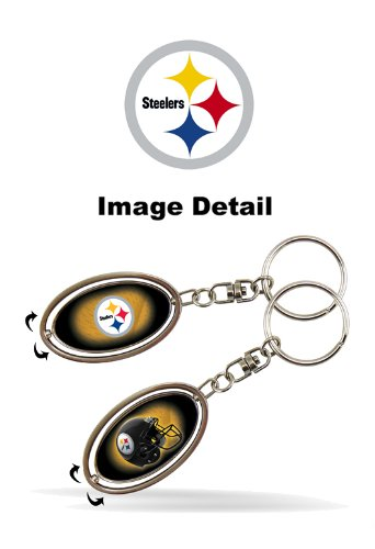 Pittsburgh Steelers NFL Team Logo Car Truck SUV Chrome Metal Pewter Key Chain - Double Sided Spinner by LA Auto Gear