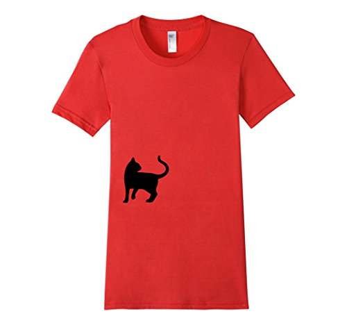 Womens-EmmaSaying-Dont-Look-Back-In-Anger-Cat-Silhouette-T-Shirt-Red