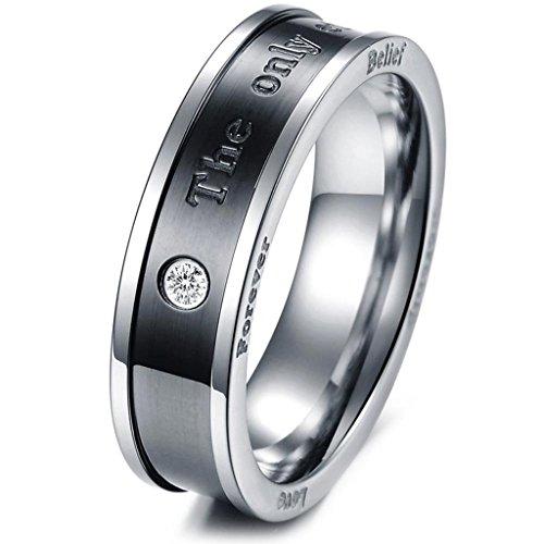 aooaz schmuck unisex ring intarsien cz the only eternal love edelstahl ehering schwarz rose gold. Black Bedroom Furniture Sets. Home Design Ideas