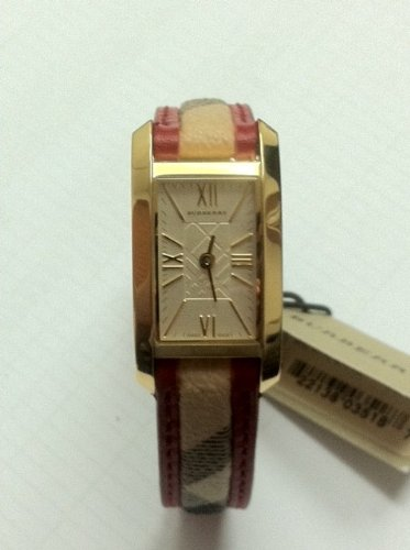 Burberry Gold Classic Women's Watch with Red Leather Accent Band - BU1089