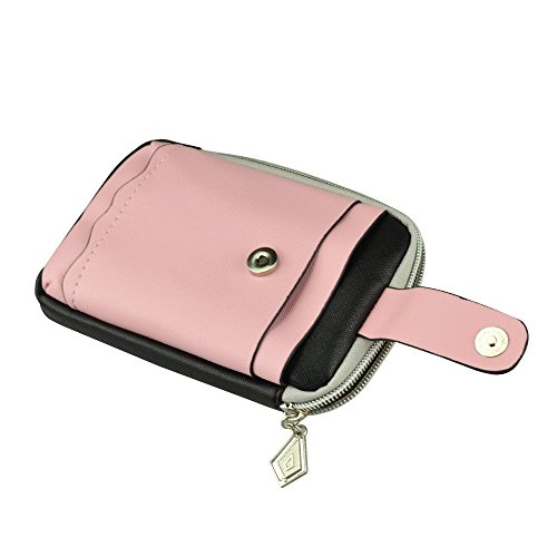 Zippered Womens Pink/Black Clutch Bag For Blu Studio Mini Lte / Life Play 2