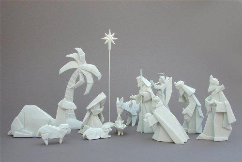 Porcelain Origami 14 Piece Nativity Set with Animals