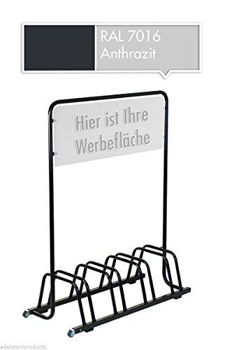 4er-Werbe-Fahrradstnder-mit-Werbeschild-Fahrradhalter-Werbetafel-Rollen-Grau