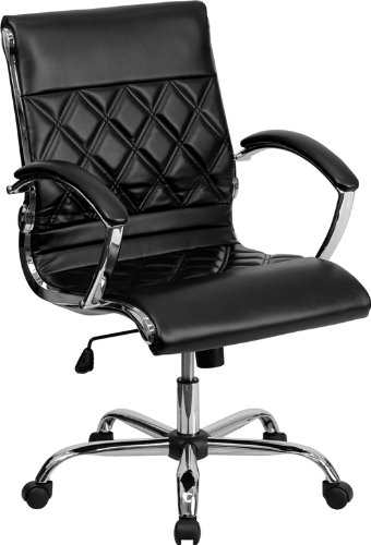 Mid-Back Designer Black Leather Executive Office Chair with