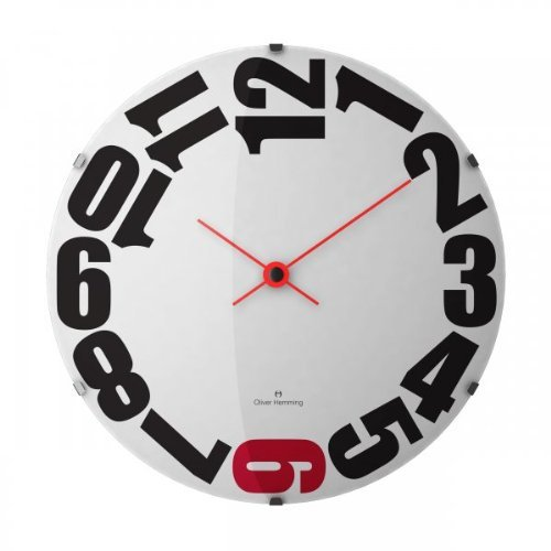 Oliver Hemming Red Six Domed Glass Contemporary 50cm Wall Clock