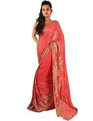 Dark Peach Wedding Wear Saree Designer Embroidery Work Sari