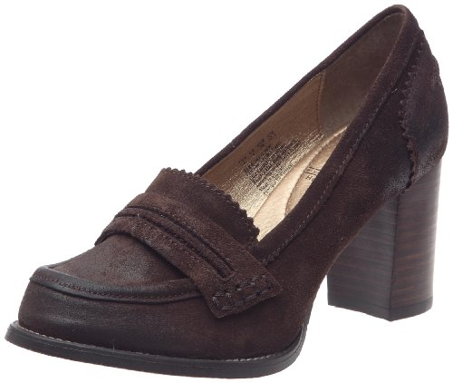 Hush Puppies Women's Affectionate Dark Brown Waxy Suede Platforms Heels H2613296W 7 UK