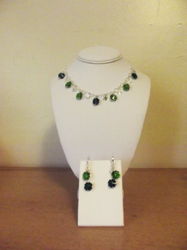 LUCKY SHAMROCKS (3-PIECE SET - NECKLACE AND EARRINGS) - CRYSTAL AND SILVER CLOVERS