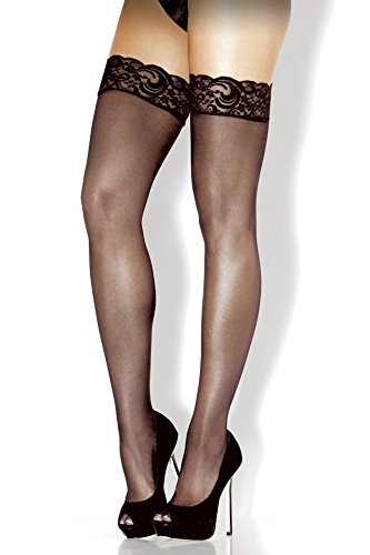 Fantasy Lingerie Women's Plus-Size Queen Lace Top Sheer Thigh High Stockings