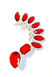 Red Teardrop Spike Acrylic Jeweled Ear Cuff