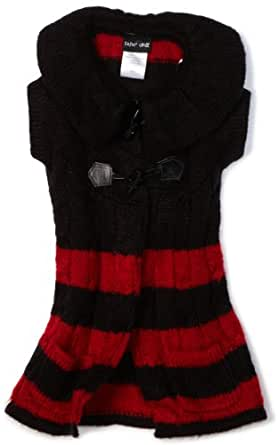 Paperdoll Little Girls' Stripe Long Boddy Toggle Closure Sweater, Red/Black, 5
