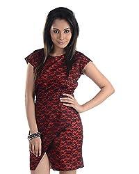 VeaKupia Women's Asymmetric Regular Fit Dress (Red, 38)