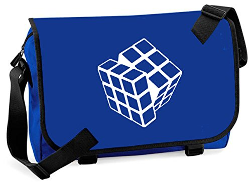 Rubik's Cube 80s Toy Messenger bag - royal blue. red or black. Adjustable shoulder strap