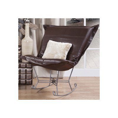 Howard Elliott 600-192 Avanti Scroll Puff Rocker with Titanium Frame, Pecan