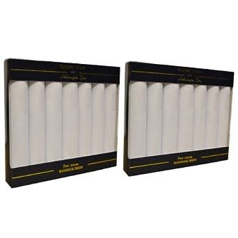 Pack de 2 Boites de 7 Mouchoirs Blancs en Satin Pour Homme 100% Coton