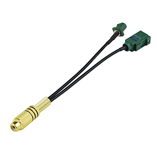"Bingfu RF Pigtail RCA Jack with Female Basket in to Green Fakra Jack with Female Basket in to Green Fakra Plug with Male Center Pin in Cable Using RG-174 5.91""(15cm)"