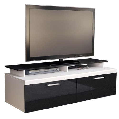 TV Stand Unit Atlanta in Black / Black metallic High Gloss with TV Stand Black Friday & Cyber Monday 2014