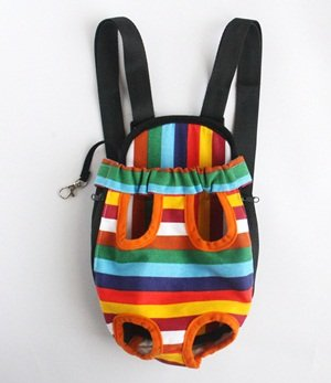 Cosmos ?? Medium Size Colorful Strip Pattern Pet Legs Out Front Carrier/bag + Cosmos Cable Tie
