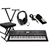 Yamaha PSR-EW410 Ultimate Performer Keyboard Package with Headphones, Stand,Bench,and Sustain Pedal