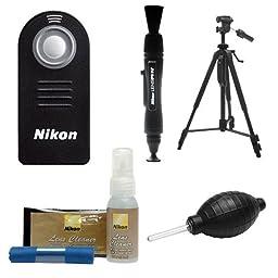 Nikon ML-L3 Wireless Infrared Shutter Remote Control + Tripod + Nikon Cleaning Kit for D3200, D3300, D5300, D5500, D7100, D7200, D610, D750, Df Digital Cameras