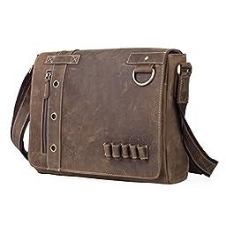 Men\'s Real Leather 13Inch Flapover Briefcase Crossbody Messenger Shoulder Satchel Bag,Brown