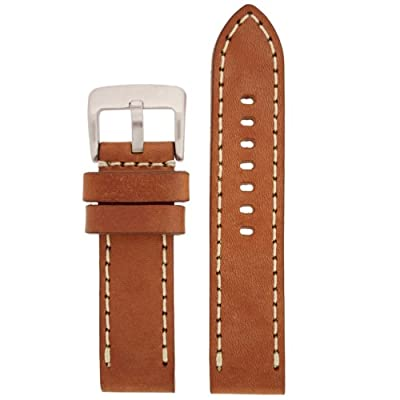 Tech Swiss LEA1553-22 22 mm Leather Calfskin Light Brown Watch Band