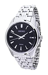 Seiko Men's SGEG03 Silver Stainless-Steel Quartz Watch with Blue Dial