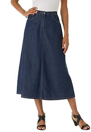 Roamans Women's Plus Size Perfect Denim A-Line Skirt (Indigo,12 W)