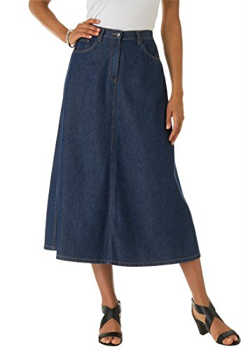 Roamans Women's Plus Size Perfect Denim A-Line Skirt Indigo,24 W