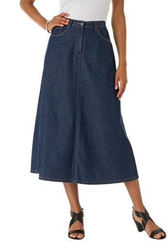 Roamans Women's Plus Size Perfect Denim A-Line Skirt Indigo,24 W