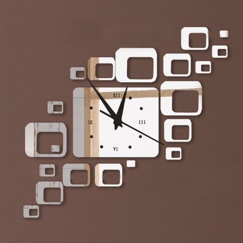 Toprate(Tm) Modern Stylish Creative Rectangles Squares Wall Clock Mirror Wall Clock Fashion Modern Design Removable Diy Acrylic 3D Mirror Wall Decal Wall Sticker Decoration (Silver) front-991461
