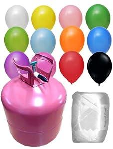 helium ballongas set mit 50 luftballons ballonband und heliumflasche spielzeug. Black Bedroom Furniture Sets. Home Design Ideas