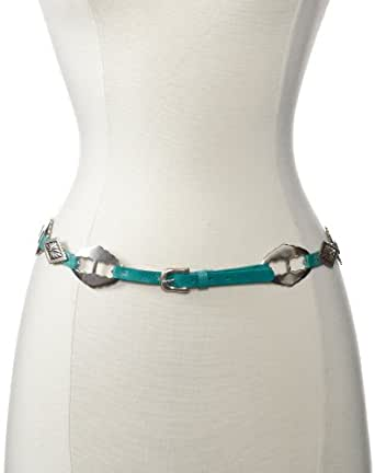Streets Ahead Women's Concho Jean Leather Skinny Belt, Turquoise, X-Small