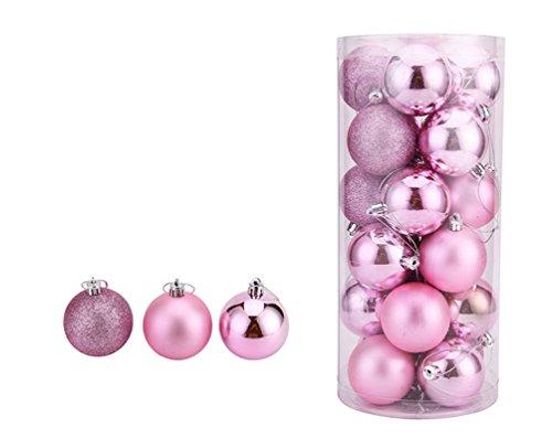 24-Stk-Wefine-Weihnachtskugeln-Bunt-Glnzend-Glitzernd-Matt-Christbaumschmuck-Christbaumkugeln-Set-6cm-Rosa