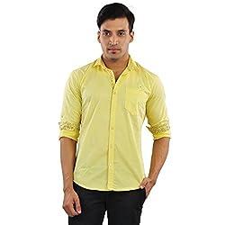 CREEDS Men's Yellow Cotton Casual Shirt(X-Large)