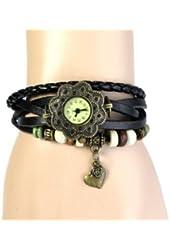 Jim 1PCS Black Vintage New Quartz Heart Weave Wrap Around Leather Bracelet Lady Woman Wrist Watch