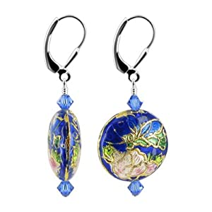 "SCER412 Blue Crystals Cloisonne Bead Sterling Silver Leverback 1.5"" Long Dangle Earrings MADE WITH SWAROVSKI ELEMENTS"