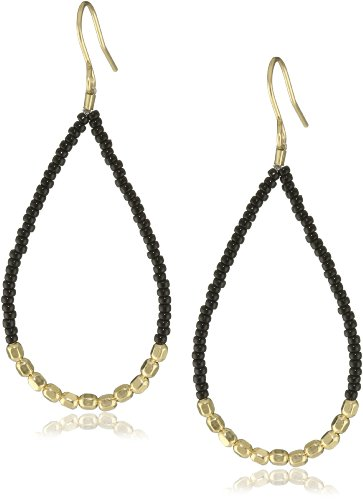 Chibi Jewels Black Glass Bead and Golden Section Earrings
