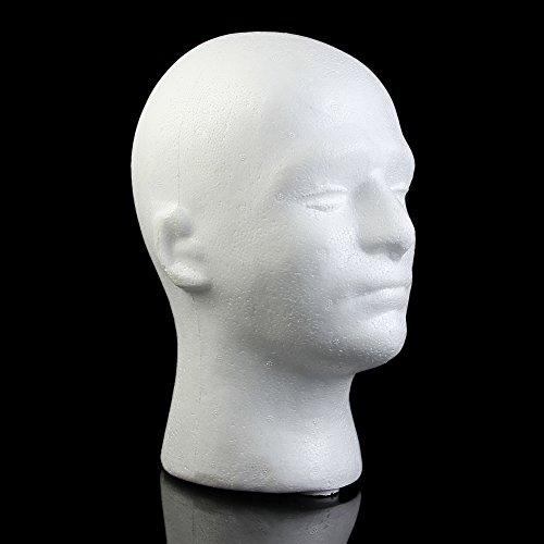 MEXUD Male Mannequin Styrofoam Foam Manikin Head Model Wig Glasses Hat Display Stand (Kids Manikin Head compare prices)