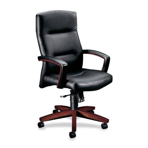 "Hon 5001NSS11 Executive High-Back Chair, 26""x29""x44-1/2"", Mahogany/Black Leather"