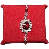 Handicrunch Desginer Red And White Stone Bracelet Rakhi