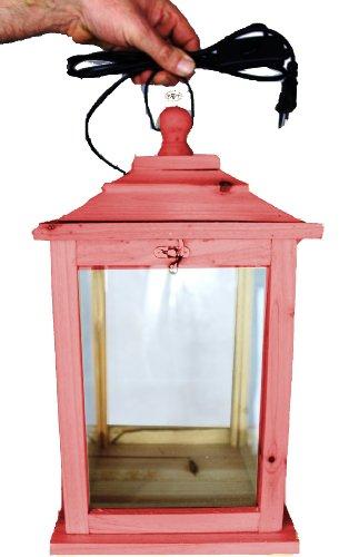 Große Holzlaterne, als Glasvitrine mit Beleuchtung, mit Glas und Holz - Rahmen, mit Holz - Deko KL-OFOS-ROT aus Holz rot lasiert