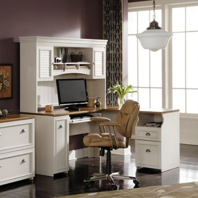 Buy Low Price Comfortable Bush Fairview L-Shaped Computer Desk with Optional Hutch – Antique White – BHI644 (B004XJNK1A)